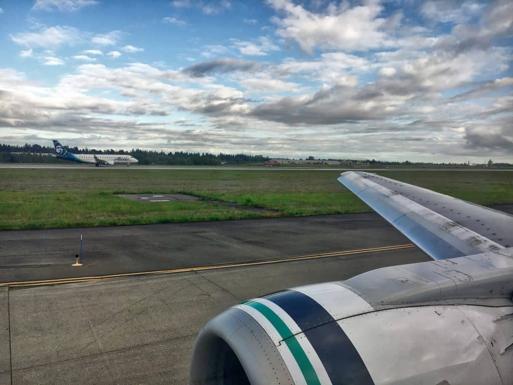 Alaska Airlines Wing during Takeoff