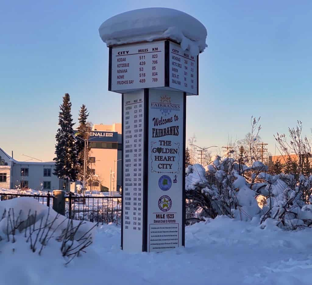 Fairbanks in Winter - Sign with Snow