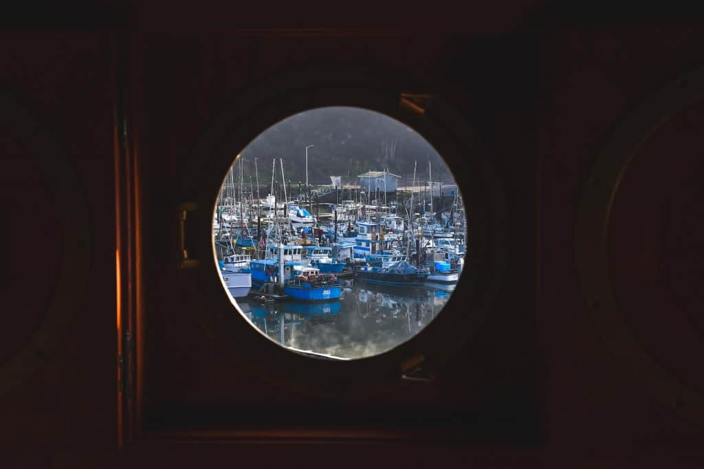 Fort Bragg Trip - Porthole view of the Marina