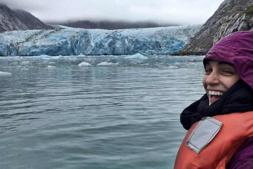Alaska Cruise Packing List - Valerie near a Glacier