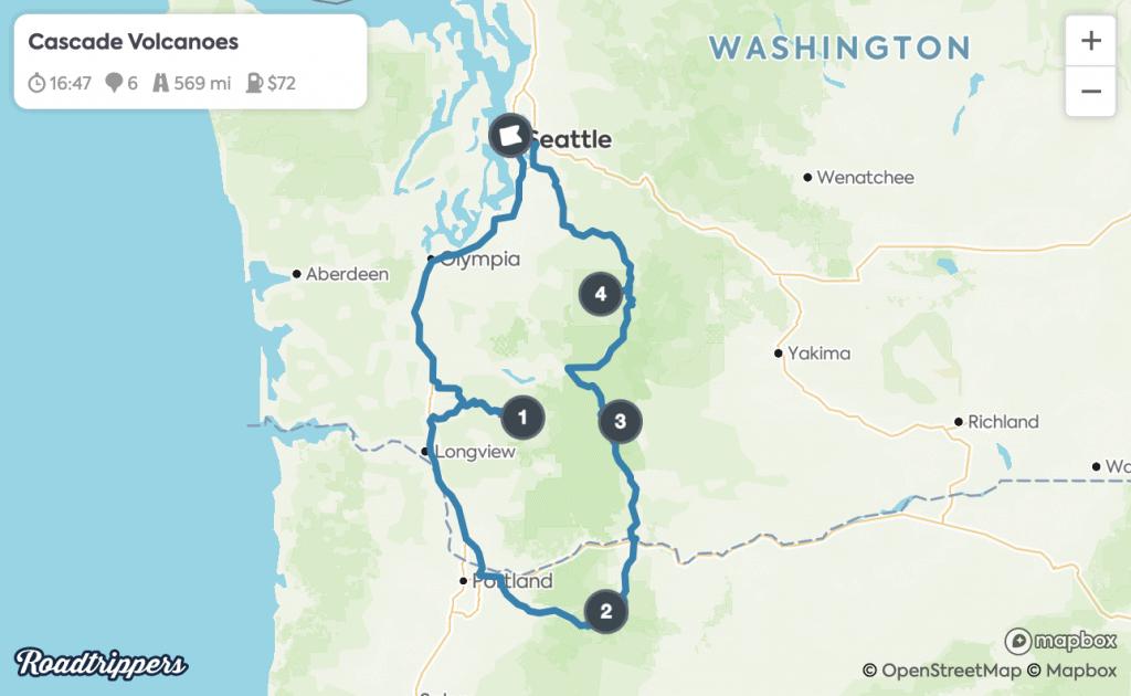 Seattle Road Trips - Cascade Volcanoes Map