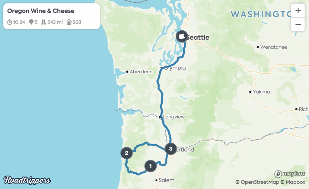 Seattle Road Trips - Oregon Wine & Cheese Route Map