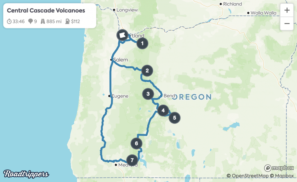 Portland Road Trips - Central Cascade Volcanoes Map