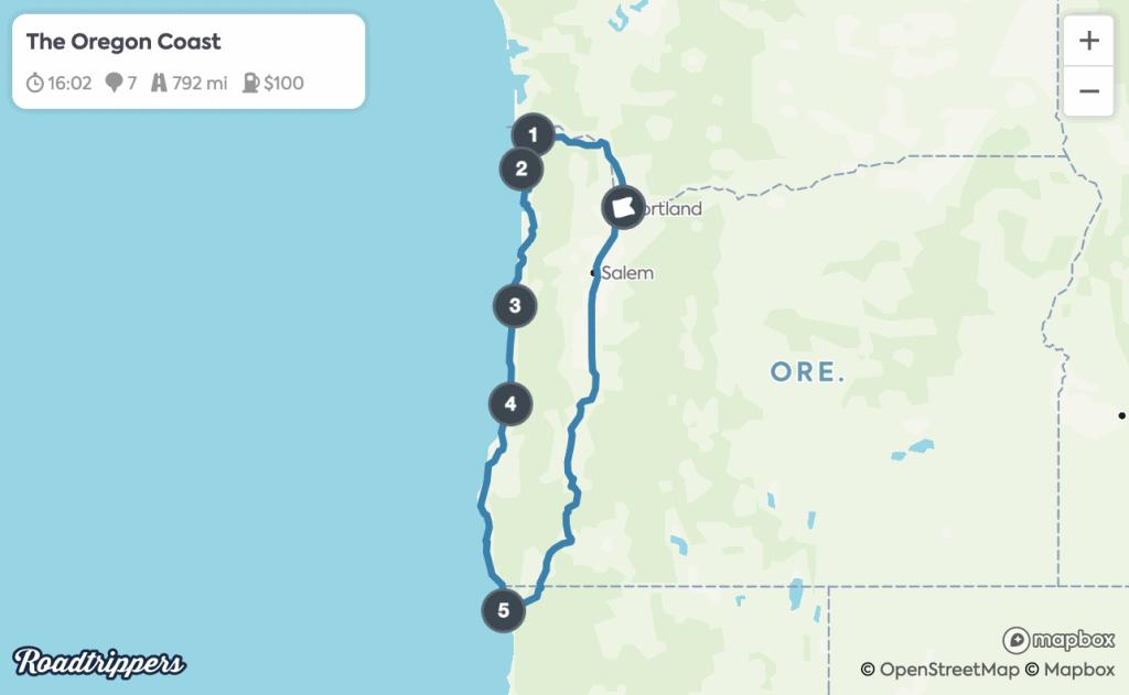 Portland Road Trips - Oregon Coast Map