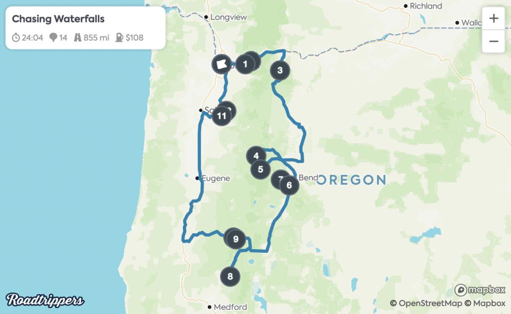 Portland Road Trips - Oregon Waterfalls Map