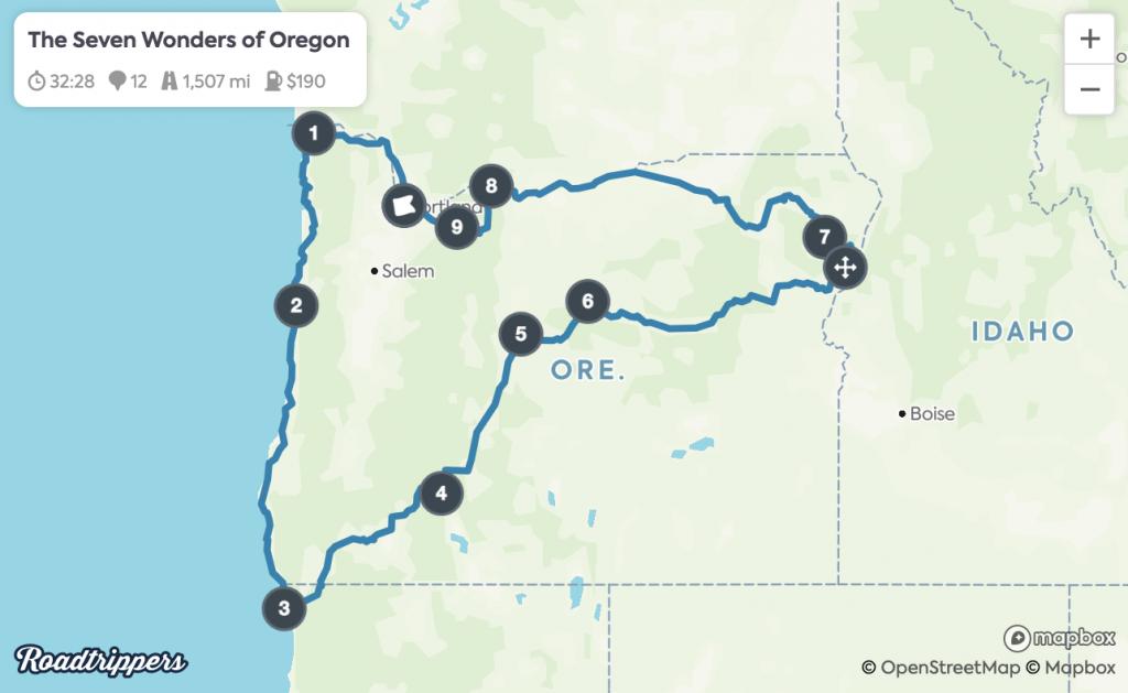 Portland Road Trips - Seven Wonders Map
