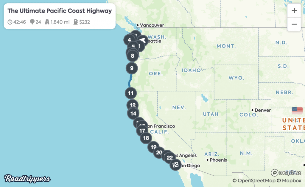 Pacific Coast Highway Map