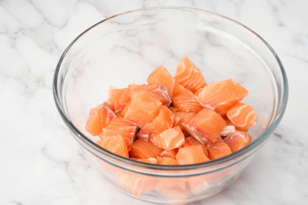 Alaskan Salmon Poke - Cubed Salmon