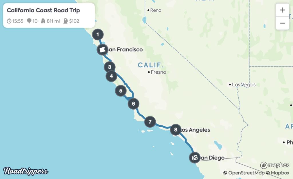 California Coast Road Trip Map