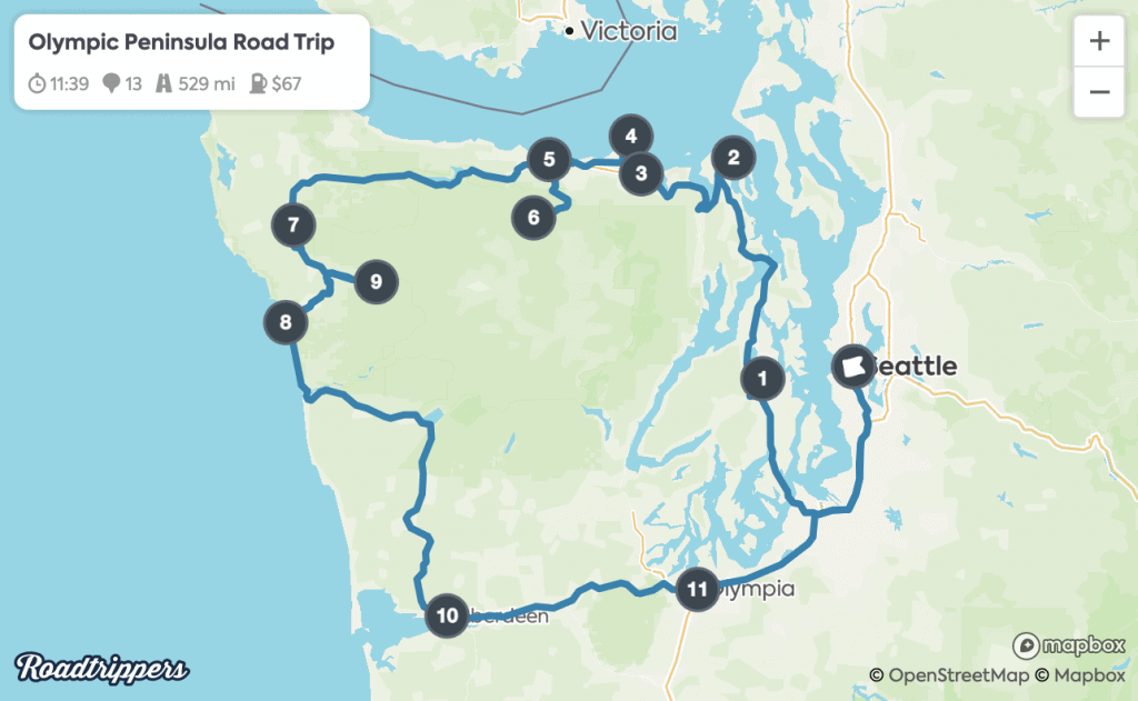 Olympic Peninsula Road Trip Map