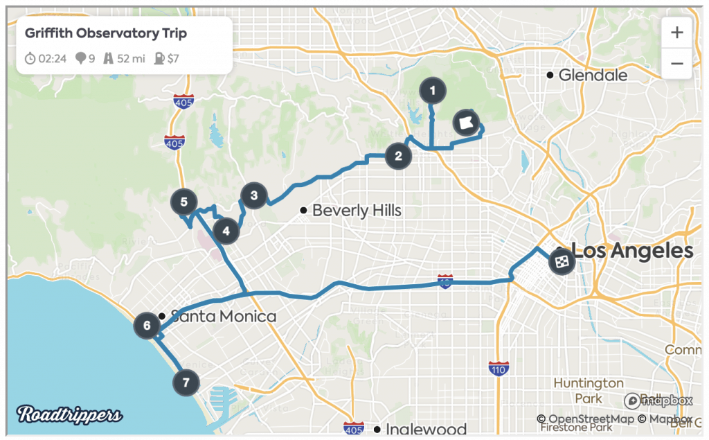 One Day in Los Angeles Map