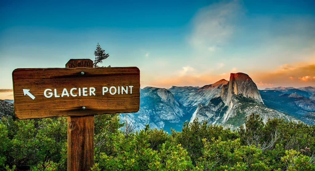 One Day in Yosemite - Sign to Glacier Point