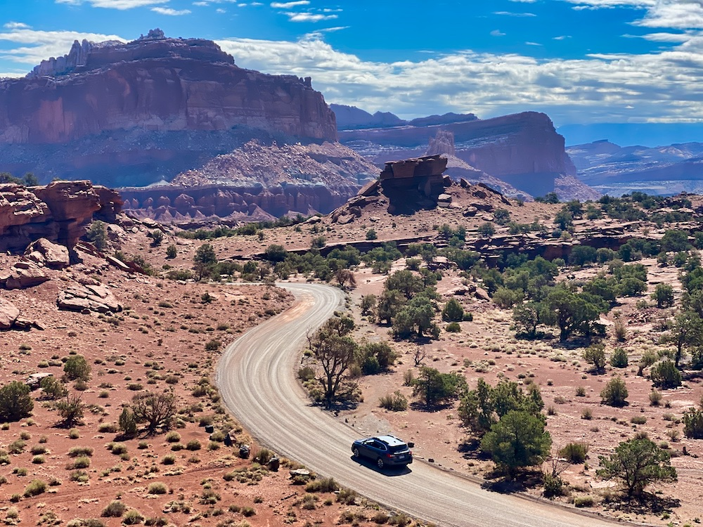 Capitol Reef One Day Itinerary - Car Driving on Dirt Road