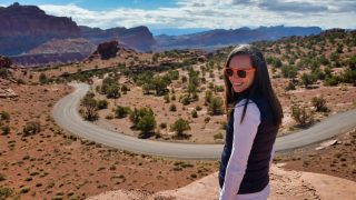 One Day in Capitol Reef - Valerie Overlooking the Waterpocket Fold